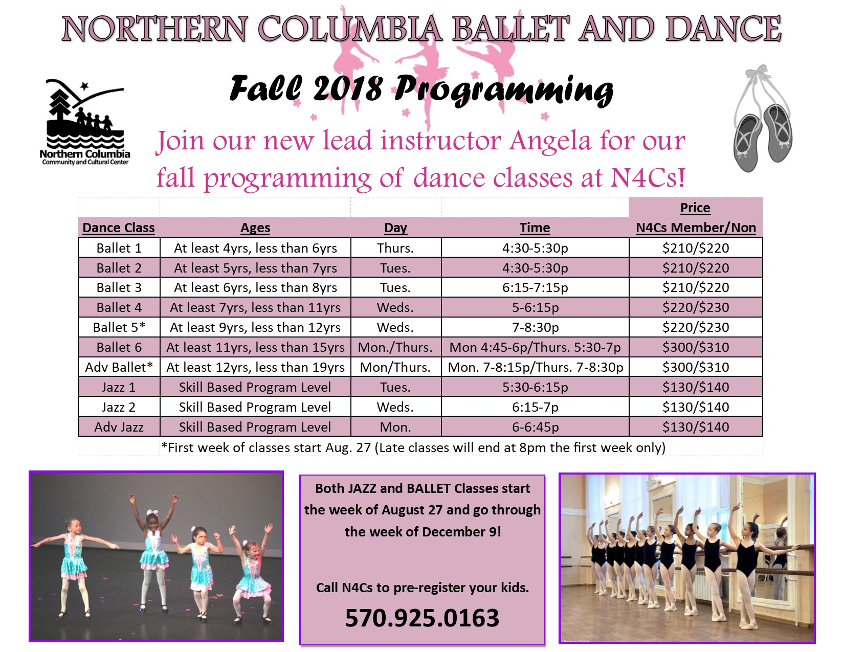 fall 2018 dance class flyer